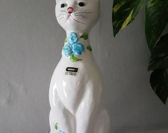 "Vintage ceramic / 9"" x 3 1/2"" / cat / cat figurine / pottery / from Guldkroken, Sweden"
