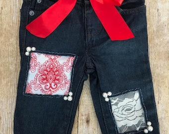 Double patch with pearl accent