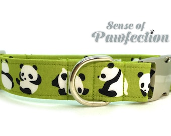 Panda Bear Green Dog Collar Lead