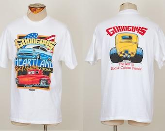 vintage 1992 Good Guys Rod & Custom Heartland Nationals white t-shirt tee LARGE