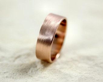 Rose Gold Men's Wedding Band, Brushed Matte Men's 7mm Flat Recycled 14k Rose Men's Gold Ring - Made in Your Size