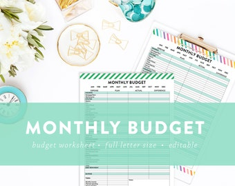 EDITABLE - Monthly Budget Page - Includes Green and Rainbow Options - INSTANT DOWNLOAD