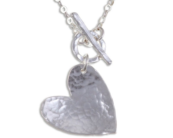 Hammered heart pendant – Hammered sterling silver heart on 18″ sterling silver belcher chain with front T-bar closure- Hand Made in UK