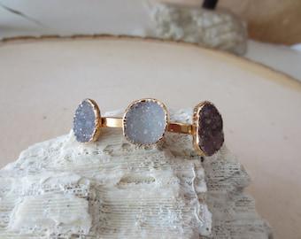 Druzy bracelet, druzy gold bracelet, triple druzy bracelet, druzy bangle bracelet, statement triple quartz druzy cuff bangle bracelet