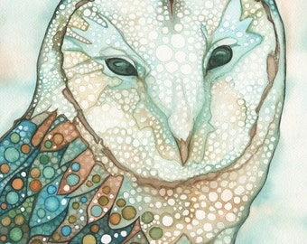 Moonlit Owl 8.5 x 11 print of watercolour artwork in soft turquoise teal earth tones, beautiful wild nature wilderness rustic cabin home