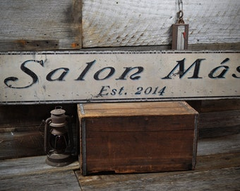 Personalized Salon or Beauty Shop Sign - Rustic Hand Made Vintage Wooden Sign ENS1000155