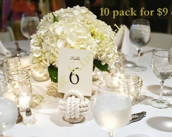 Nautical Wedding Rope Knots 10 Table Number Holders for your Seaside Wedding White Monkey Fist Rope  Knots