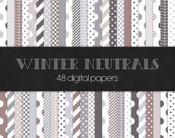 Winter Neutrals Digital Paper Pack - INSTANT DOWNLOAD