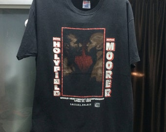 "Free Shipping Vintage 1994 Evander Holyfield Vs. Michael Moorer T- Shirt/Size 23""/ Boxing Match World Heavyweight Championship"