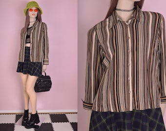 90s Striped Blouse/ Petite Medium/ 1990s/ Long Sleeve/ Button Down