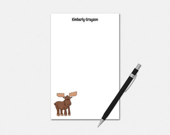 Moose Gifts - Personalized Notepad - MOOSE - Custom Stationery - Stationary Note Pad | cute gifts rustic drawing wild animal