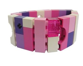 Kawaii Pink and Purple bracelet - made from LEGO (R) bricks on stretchy cords - Fairy Kei - Sweet Lolita