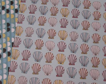 Set of 3 sheets for scrapbooking-shells pattern double sided