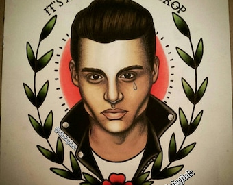 """It's just a lonely teardrop - Johnny Depp as """"Crybaby."""" Limited print run of this original traditional tattoo flash style painting, A4"""