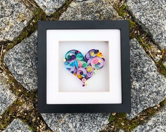 What is Love? Quilling Art - Gift for Mother, Home Decor, Heart Unique, Heart Wall Art, For Her, Paper Anniversary, Handmade Gift,i love u