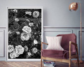 Floral Print   - (Print # 012)  Black and White floral print  - Fine Art Print - Two Paper Choices- Bohemian Home