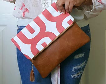 Coral Tan Clutch Purse, Brown Faux Leather, Large Clutch Purse, Clutch Bag, Leather Clutch, Wristlet Clutch, Geometric Print, Gift for women