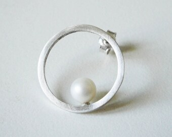 sterling silver bridal circle earrings white fresh water pearls - silver pearl earrings june birthstone earrings pearl studs earrings