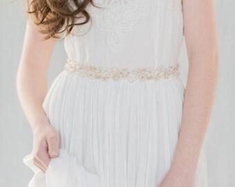 Rose Gold Sash, Rose Gold Dress Belt, Pearl Wedding Sash, Bridal Belt, Crystal Belt, Beaded Sash, Floral Sash, Floral Dress Belt, LOREENA