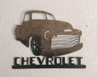 Old Truck - Metal Truck - Wall Art - 49 - 53 Chevy - Metal Art - Home Decor