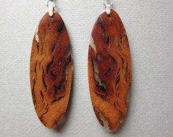 Unique, Tarrah Wood, Long thin Dangle Exotic Wood Earrings, Handcrafted Resin Ecofriendly repurposed