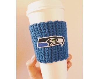 Seahawks Coffee Cozy | Seattle Seahawks Cozy | Reusable Coffee Cozy | Knitted Coffee Cozy