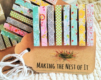 Clothespin Magnet Clips, Set of 8 Sweetly Patterned Mini Clips