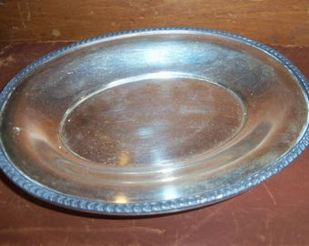 Vintage Silver on Copper Oval Dish Candy Display Tabletop