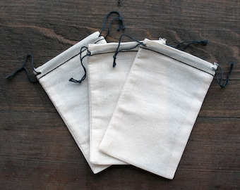 500 3.25x5  Black Hem and Black Cotton Muslin Double Drawstring Bags