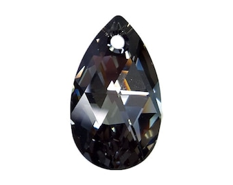 Crystal Silver Night - Swarovski Crystal - Faceted Pear Pendant (6106) 16mm & 28mm