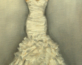 Custom Wedding Dress Illustration Painting in Oil by Lara Bridesmaid Maid of Honor 5x7 Anniversary Gift