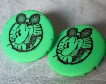 Set of 2 VINTAGE Mickey Mouse Green Plastic BUTTONS