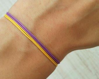 Men's Los Angeles Lakers String Bracelets LA Lakers Fan Gift Backetball Lover Gift Purple And Yellow Bracelets Los Angeles Lakers Sport Set