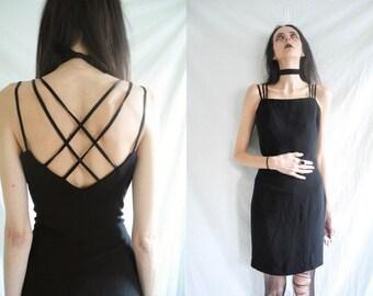 90's goth/minimal black sleeveless cross over back multi spaghetti strap dress.