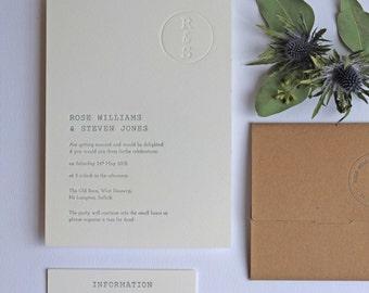 Retro Stamp Letterpress Wedding Invitation Sample Card