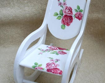 Rocking chair for doll, 1:6 scale dollhouse furniture, gift for girl, doll furniture