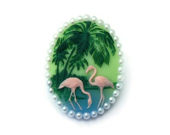 Retro Flamingo Rockabilly Cameo Pin, Pin up, Vintage Inspired Brooch, 50s, 40s, Tiki, Tropical