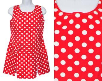 Vintage 70's BYER CALIFORNIA Red & White Polka Dot Sleeveless Top M
