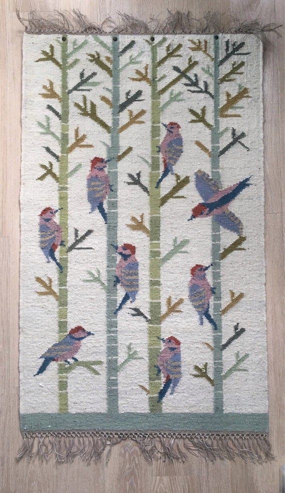Vintage Danish Polish Broste of Copenhagen wool and Linen Kelim wallhanging of woodpeckers and branches 1.23 x .75 cm