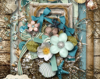 UNDER THE BOARDWALK - Digital Scrapbooking Kit - 13 Papers and 50 Plus Elements -5.00