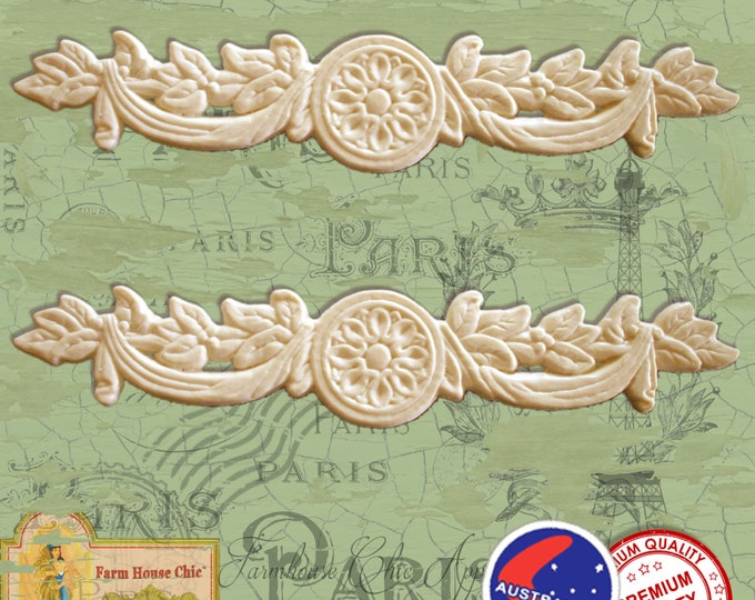 2 x Shabby French Chic Resin / Wood Composite Furniture Mouldings, Crowns, Furniture Appliques, Furniture Carvings, Furniture Decorations