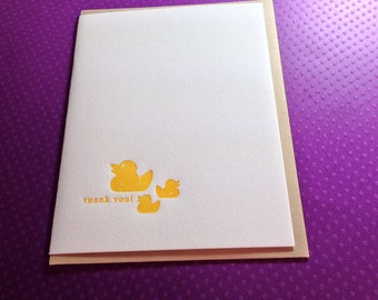 Thank you  Letterpress card - Duck ~ Handmade ~ FREE shipping within the US ~