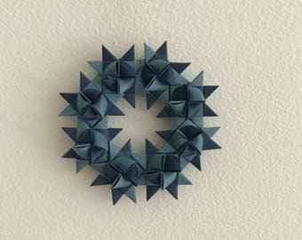 Moravian Star Wreath—Blue Two-Toned
