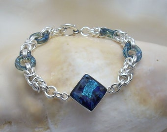 Dichroic Glass Focal Piece and Glass Links on Argentium Silver Chainmaille Bracelet