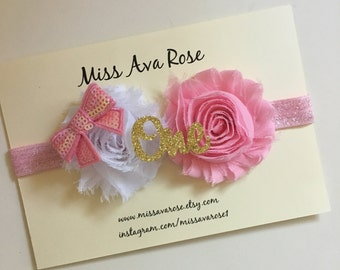 First, second, third birthday, half birthday or one month old bow, birthday bow, birthday headband, first birthday, pink and gold birthday