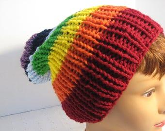 Handmade Kint Rainbow Slouch hat, Acrylic yarn hat, one size fits most, Rainbow hat.