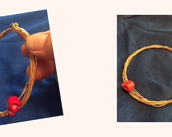 Upcycled Guitar String Bangle with Skull