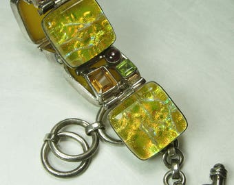 Vintage Sterling Silver Amethyst Yellow Dichroic Glass Bracelet Statement Artist Signed