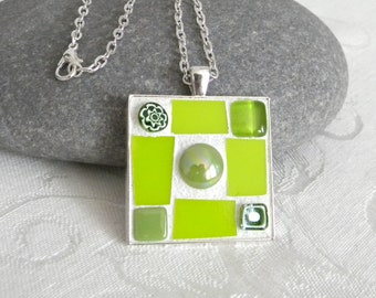 LIME GREEN Mosaic Pendant - Jewelry Necklace - Stained Glass - Beads