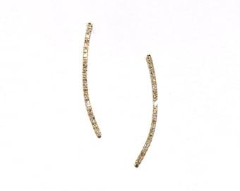 14k Pave Diamond Climber/Earrings
